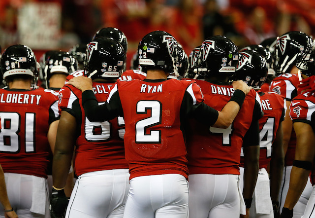 Matt Ryan gathers the offensive line
