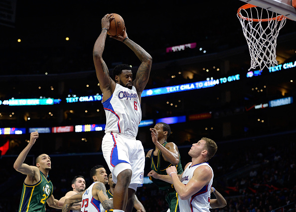 DeAndre Jordan grabs rebound against Utah Jazz