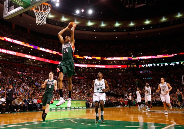 Giannis Antetoukounmpo goes up for an amazing dunk.