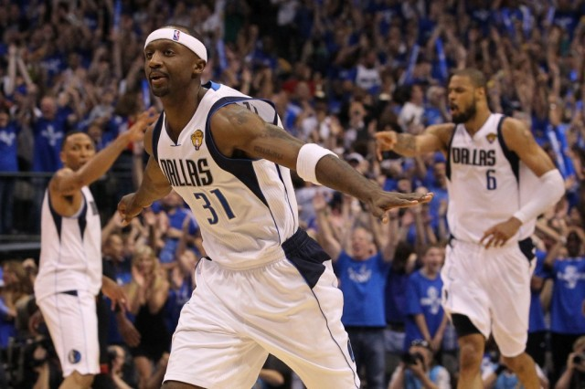 Jason Terry celebrates winning a major game.