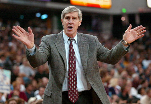 Jerry Sloan waves his hands at his players.