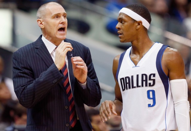 DALLAS, TX - DECEMBER 26: Head coach Rick Carlisle of the Dallas Mavericks talks with Rajon Rondo #9 of the Dallas Mavericks as the Mavericks take on the Los Angeles Lakers at American Airlines Center on December 26, 2014 in Dallas, Texas. NOTE TO USER: User expressly acknowledges and agrees that, by downloading and or using this photograph, User is consenting to the terms and conditions of the Getty Images License Agreement. (Photo by Tom Pennington/Getty Images)