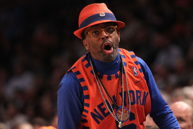 Spike Lee cheers for the New York Knicks as their most famous fan.