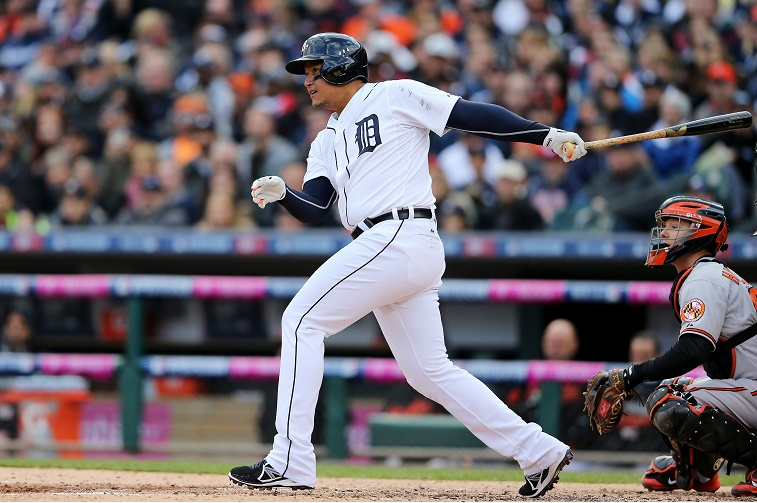 DETROIT, MI - OCTOBER 05: Miguel Cabrera #24 of the Detroit Tigers hits a ground ball into a fielder's choice in the third inning against the Detroit Tigers during Game Three of the American League Division Series at Comerica Park on October 5, 2014 in Detroit, Michigan.