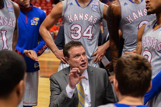Bill Self leads the Kansas huddle