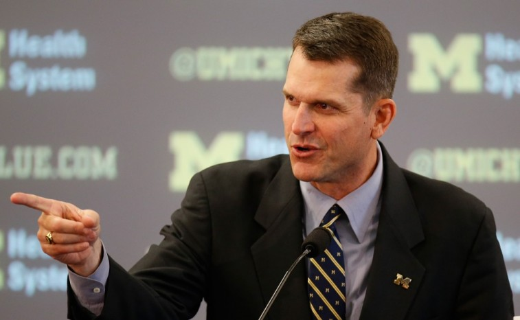 Jim Harbaugh at his introductory press conference at Michigan