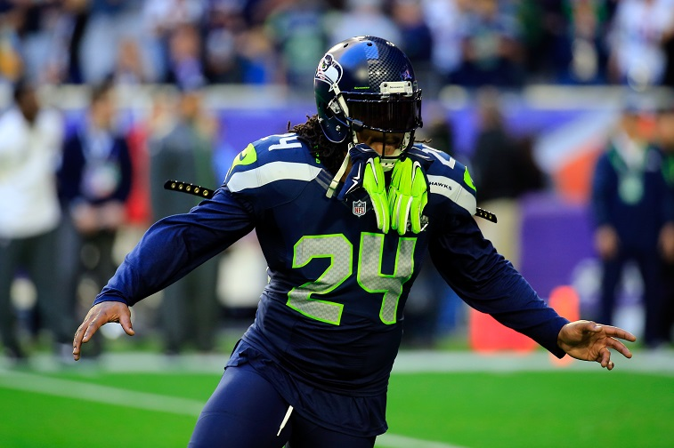 Marshawn Lynch celebrates a touchdown.