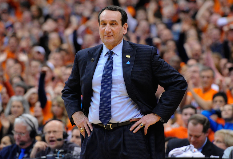 Head coach Mike Krzyzewski of the Duke Blue Devils reacts to a call.