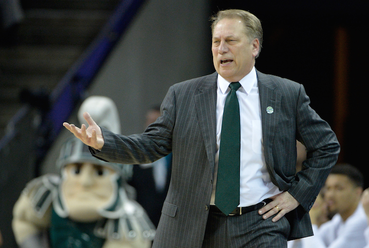 Head coach Tom Izzo of the Michigan State Spartans reacts.