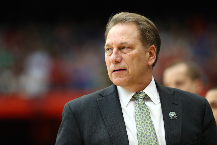 Michigan State coach Tom Izzo looks on during the game.