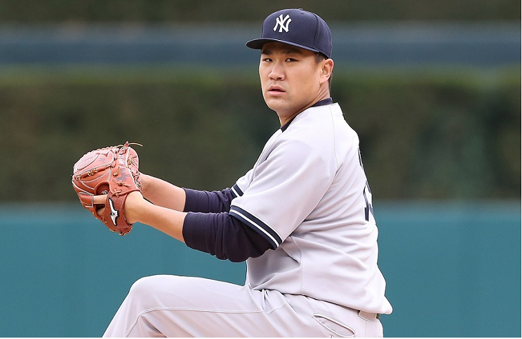 Pitcher Masahiro Tanaka warms up for the Yankees