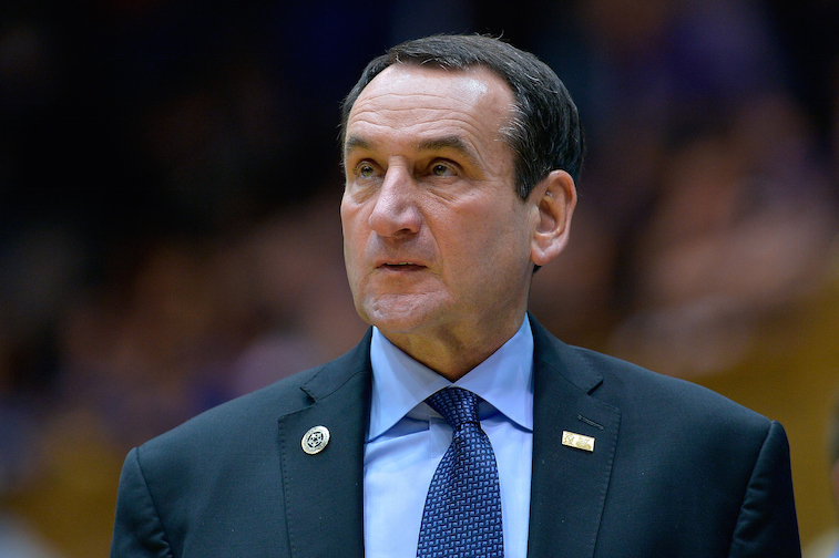 Head coach Mike Krzyzewski of the Duke Blue Devils watches his team play during their game against the Livingstone College Blue Bears
