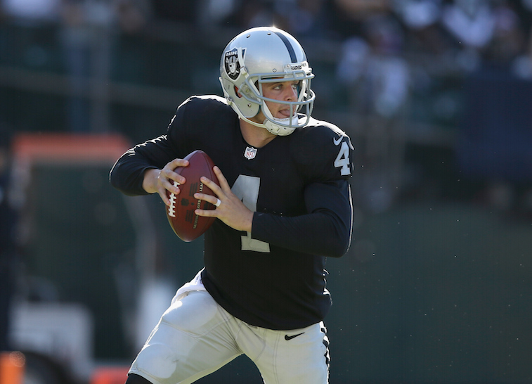 Derek Carr during a home game