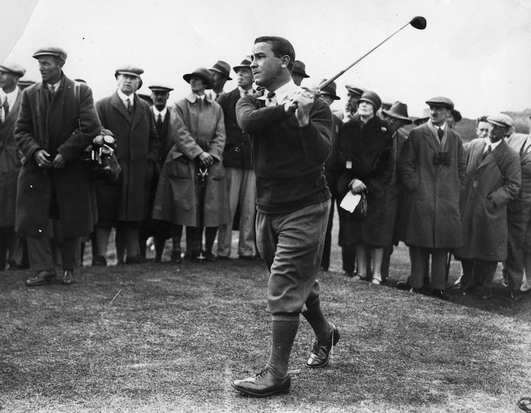 Gene Sarazen makes the shot at the Masters.