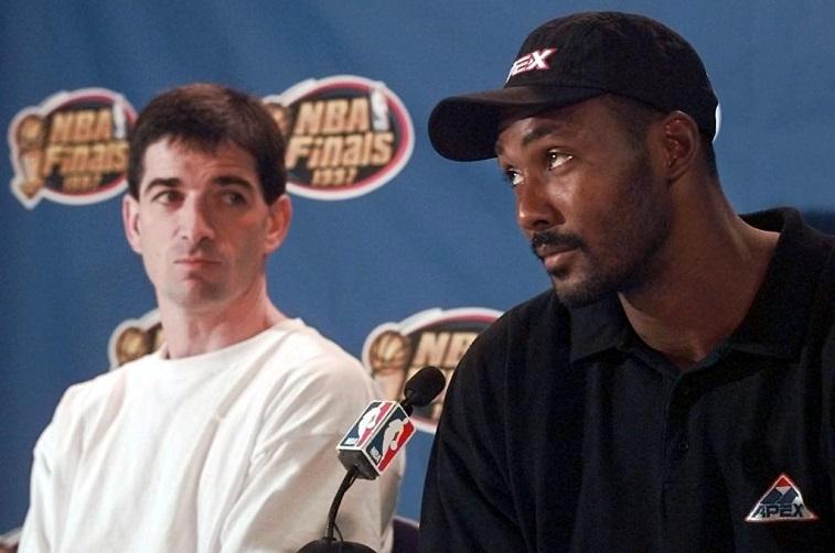 Karl Malone at a press conference following the 1997 NBA Finals.