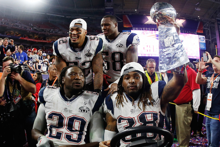 New England Patriots celebrate after winning the Super Bowl