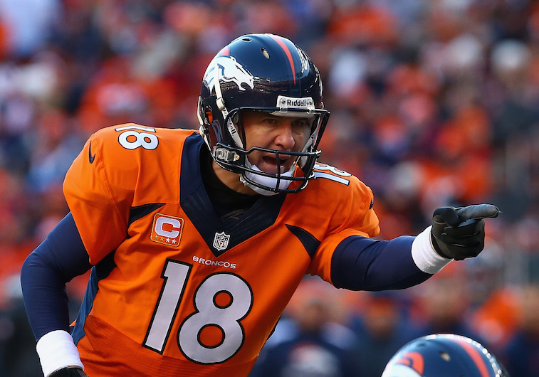 Peyton Manning calls a play during the playoffs