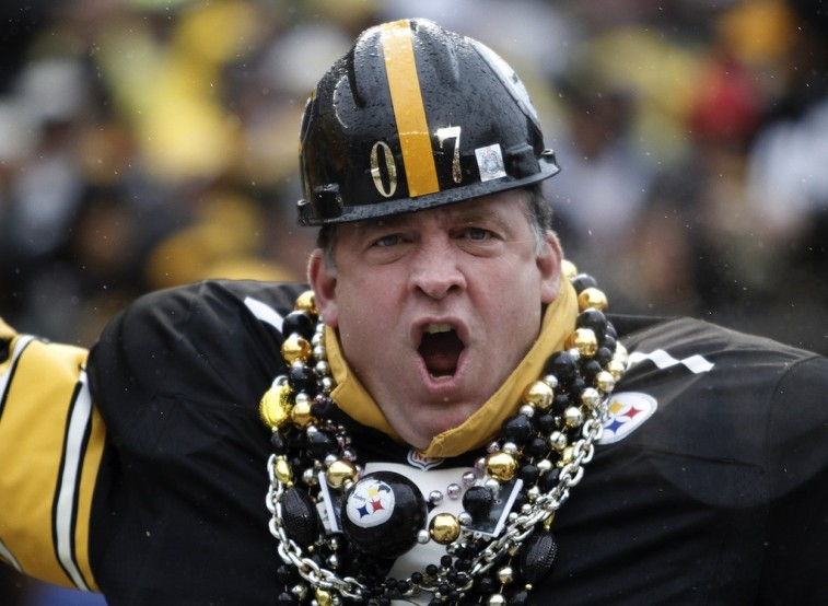 A Steelers fan demonstrates his loyalty.