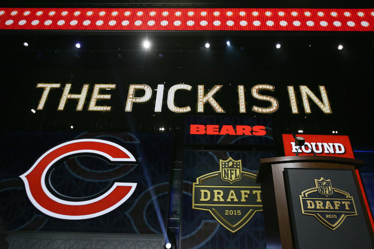 CHICAGO, IL - APRIL 30: Graphics show on screen after Kevin White of the West Virginia Mountaineers is picked #7 overall by the Chicago Bears during the first round of the 2015 NFL Draft at the Auditorium Theatre of Roosevelt University on April 30, 2015 in Chicago, Illinois. (Photo by Jonathan Daniel/Getty Images)