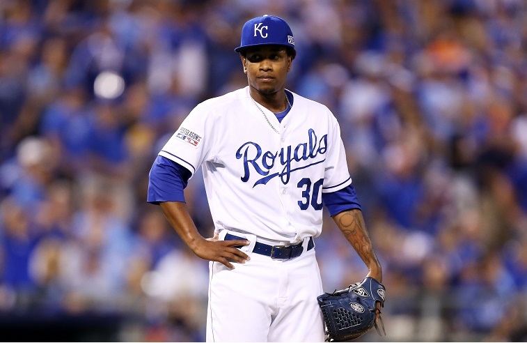 KANSAS CITY, MO - SEPTEMBER 30: Yordano Ventura #30 of the Kansas City Royals reacts after giving up a three-run home run to Brandon Moss #37 of the Oakland Athletics in the sixth inning during the American League Wild Card game at Kauffman Stadium on September 30, 2014 in Kansas City, Missouri.