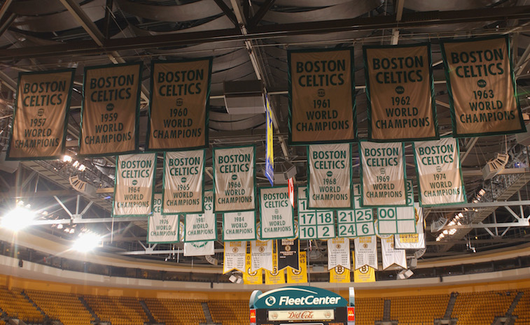 Boston Celtics' champion banners hanging above the court.