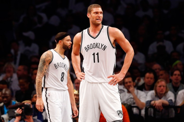 Brook Lopez of the Brooklyn Nets looks across the court.