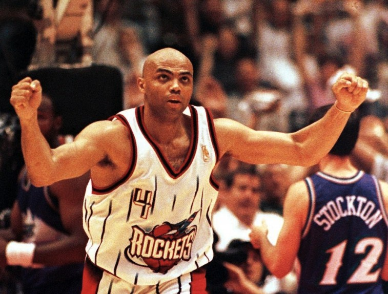 Charles Barkley celebrates during a game.