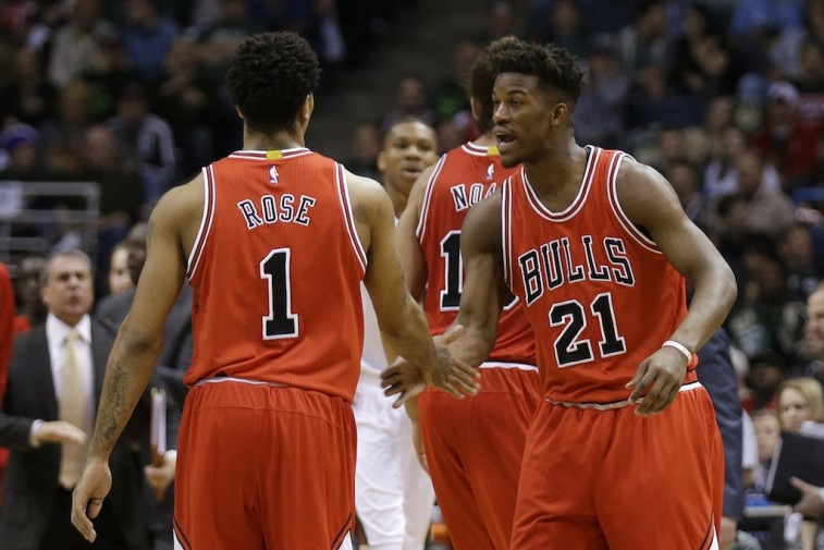 Derrick Rose and Jimmy Butler get pumped up.