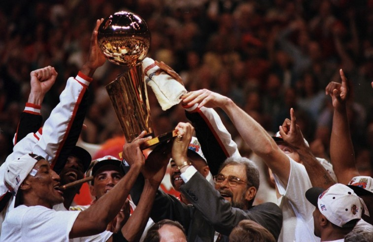 The Chicago Bulls celebrate winning the NBA title.