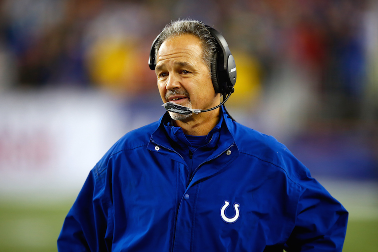 Head coach Chuck Pagano of the Indianapolis Colts looks on from the sideline.