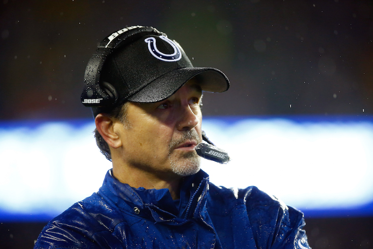 NFL coach Chuck Pagano of the Indianapolis Colts looks on against the New England Patriots.