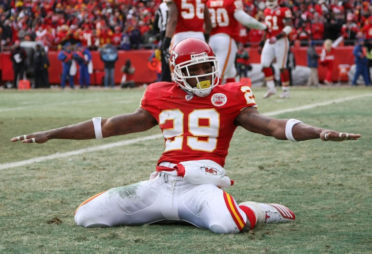 KANSAS CITY, MO - JANUARY 09: Safety Eric Berry #29 of the Kansas City Chiefs celebrates after breaking up a pass to tight end Todd Heap #86 of the Baltimore Ravens in the endzone during their 2011 AFC wild card playoff game at Arrowhead Stadium on January 9, 2011 in Kansas City, Missouri. (Photo by Doug Pensinger/Getty Images)