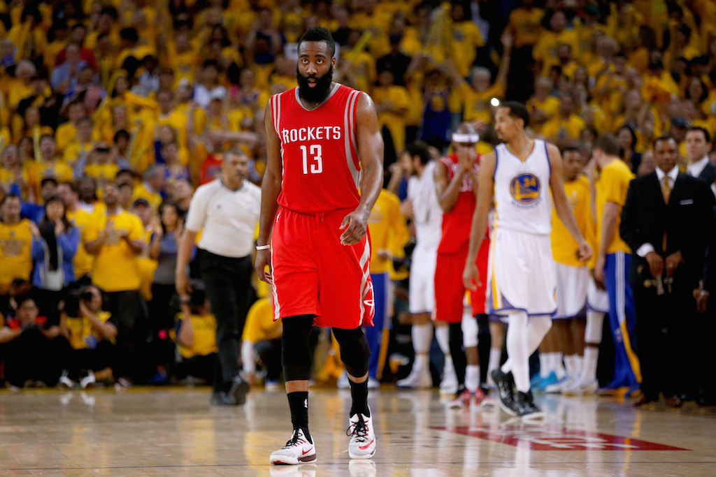 James Harden steels himself against the Warriors.