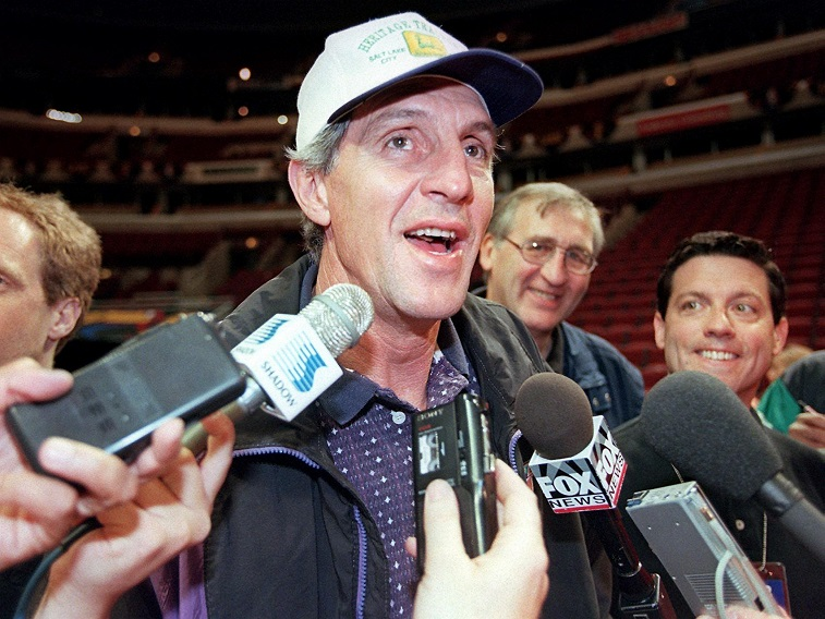Jerry Sloan speaking to reporters during the 1998 NBA Finals