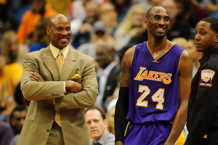 Kobe Bryant and Lakers coach Bryon Scott share a laugh