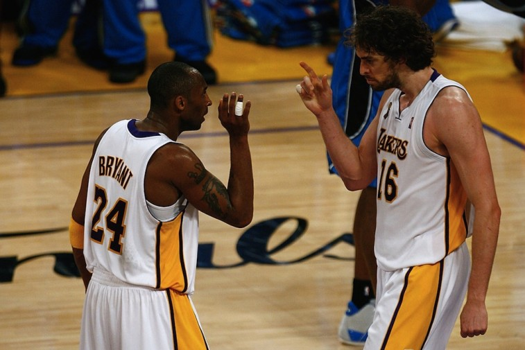 Kobe Bryant and Pau Gasol celebrate.