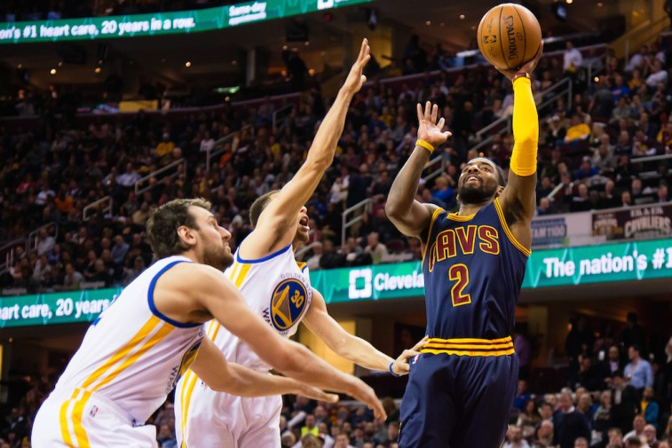 Kyrie Irving blows past the Warriors.