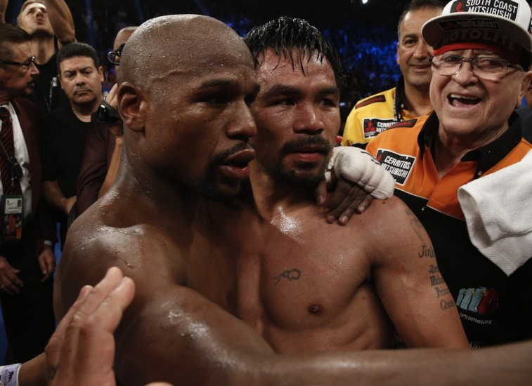 Mayweather and Pacquiao after the fight