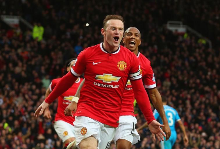 Wayne Rooney celebrates scoring a goal