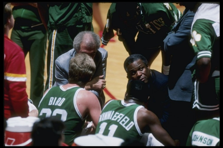 The Boston Celtics in the huddle.