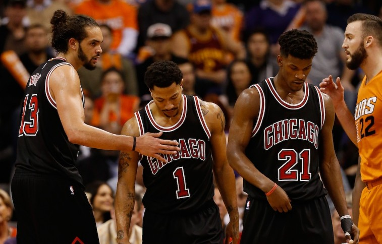 Christian Petersen/Getty ImagesPHOENIX, AZ - JANUARY 30: Joakim Noah #13, Derrick Rose #1 and Jimmy Butler #21 of the Chicago Bulls react during the second half of the NBA game against the Phoenix Suns at US Airways Center on January 30, 2015 in Phoenix, Arizona. The Suns defeated the Bulls 99-93. NOTE TO USER: User expressly acknowledges and agrees that, by downloading and or using this photograph, User is consenting to the terms and conditions of the Getty Images License Agreement. (Photo by Christian Petersen/Getty Images)