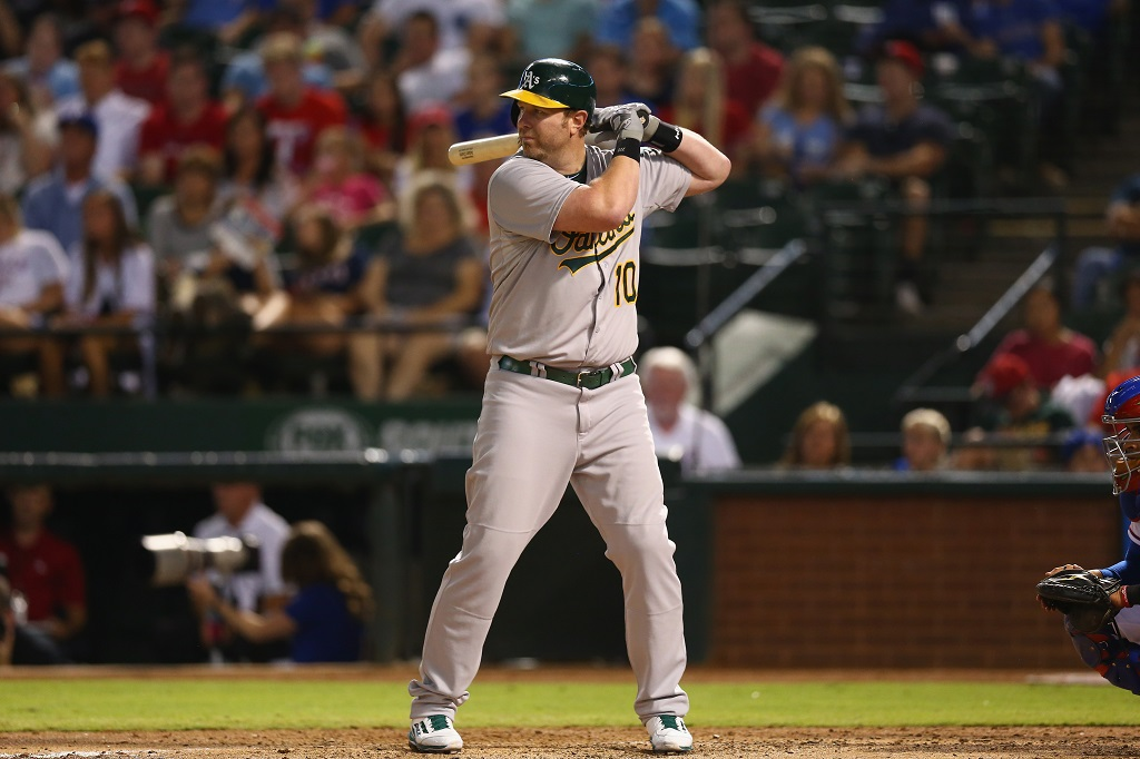 ARLINGTON, TX - SEPTEMBER 26: Adam Dunn #10 of the Oakland Athletics at Globe Life Park in Arlington on September 26, 2014 in Arlington, Texas. (Photo by Ronald Martinez/Getty Images)