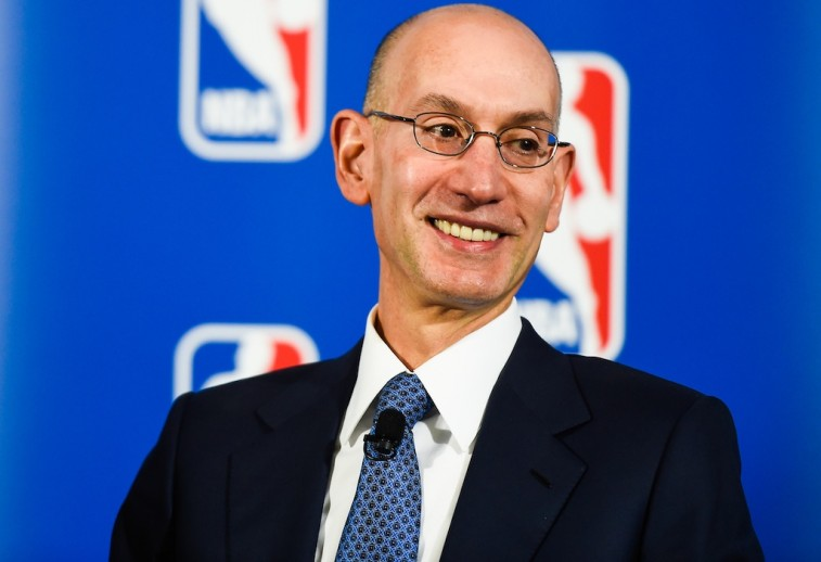 Commissioner Adam Silver at a PepsiCo and NBA press conference