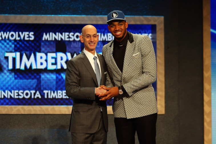 Adam Silver and Karl-Anthony Towns at 2015 NBA Draft