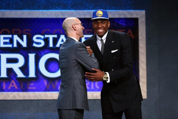 Adam Silver and Kevon Looney 2015 NBA Draft