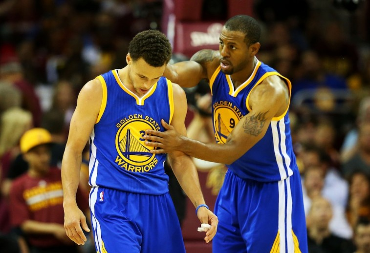 Stephen Curry and Andre Iguodala chat in Game 4