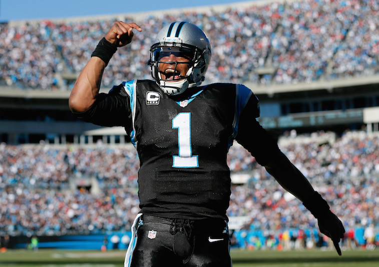 Cam Newton celebrates a touchdown