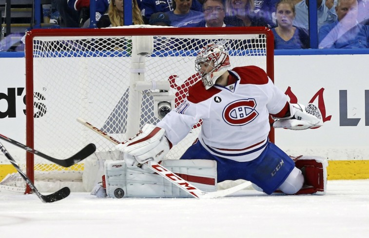Carey Price extends for a save against the Tampa Bay Lightning