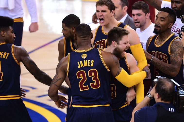 LeBron celebrates his first career Finals win as a member of the Cavs