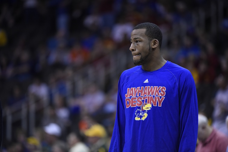 KANSAS CITY, MO - MARCH 13: Cliff Alexander #2 of the Kansas Jayhawks watches teammates shoot around before a game against the Baylor Bears during the semifinals round of the Big 12 basketball tournament at Sprint Center on March 13, 2015 in Kansas City, Missouri.
